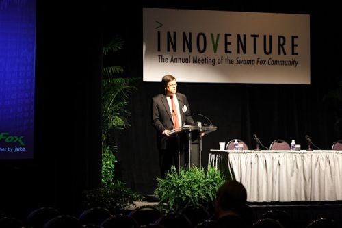 John Warner welcoming everyone to Innoventure 2009